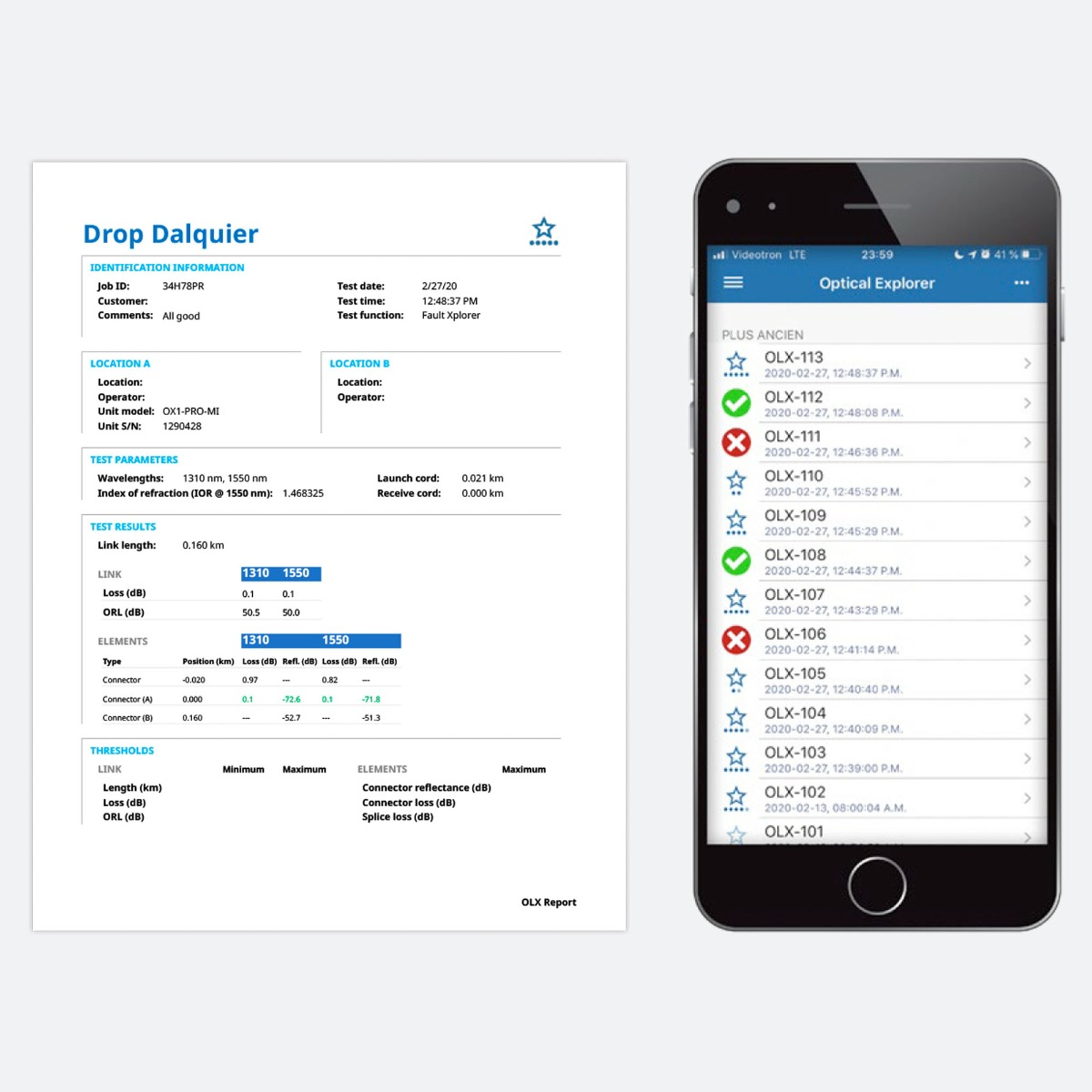 EXFO OX1-PRO-I-88 CControls Example of measurement PDF report generated from the smart device